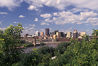 AJ2867, St. Paul, skyline, Twin cities, Mississippi River, Minnesota, A view of the downtown skyline of Saint Paul from across the Mississippi River in the state of Minnesota.