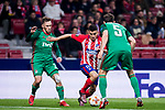 Angel Correa (C) of Atletico de Madrid competes for the ball with Maciej Rybus (L) of FC Lokomotiv Moscow during the UEFA Europa League 2017-18 Round of 16 (1st leg) match between Atletico de Madrid and FC Lokomotiv Moscow at Wanda Metropolitano  on March 08 2018 in Madrid, Spain. Photo by Diego Souto / Power Sport Images