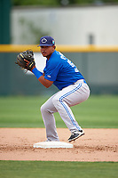 Toronto Blue Jays Deiferson Barreto (57) during practice before a minor league Spring Training game against the Pittsburgh Pirates on March 24, 2016 at Pirate City in Bradenton, Florida.  (Mike Janes/Four Seam Images)