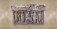 """Side panel of a Roman relief sculpted sarcophagus with kline couch lid, """"Columned Sarcophagi of Asia Minor"""" style typical of Sidamara, 3rd Century AD, Konya Archaeological Museum, Turkey. Against a warm art background."""