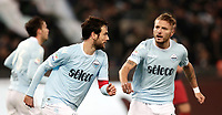 Calcio, Serie A: Lazio - Genoa, Roma, Stadio Olimpico, 5 Febbraio 2018. <br /> Lazio's captain Marco Parolo (l) celebrates after scoring with his teammate Ciro Immobile (r) during the Italian Serie A football match between Lazio and Genoa at Rome's Stadio Olimpico, February 5, 2018.<br /> UPDATE IMAGES PRESS/Isabella Bonotto