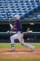 Izaac Pacheco (23) of Friendswood HS in Friendswood, TX playing for the Colorado Rockies scout team during the East Coast Pro Showcase at the Hoover Met Complex on August 4, 2020 in Hoover, AL. (Brian Westerholt/Four Seam Images)