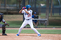 AZL Dodgers third baseman Leonel Valera (23) at bat during an Arizona League game against the AZL Padres 2 at Camelback Ranch on July 4, 2018 in Glendale, Arizona. The AZL Dodgers defeated the AZL Padres 2 9-8. (Zachary Lucy/Four Seam Images)