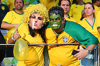 Brazil fans in fancy dress as David Luiz and Hulk