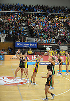 Catherine Cox shoots during the ANZ Netball Championship match between Central Pulse and West Coast Fever at TSB Bank Arena, Wellington, New Zealand on Sunday, 26 May 2013. Photo: Dave Lintott / lintottphoto.co.nz