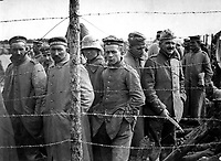 German prisoners in a French prison camp.  French Pictorial Service.  (War Dept.)<br /> EXACT DATE SHOT UNKNOWN<br /> NARA FILE #:  165-WW-461D-3<br /> WAR & CONFLICT BOOK #:  687