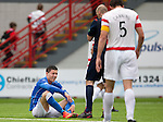 Hamilton Accies v St Johnstone...16.08.14  SPFL<br /> An injured Michael O'Halloran<br /> Picture by Graeme Hart.<br /> Copyright Perthshire Picture Agency<br /> Tel: 01738 623350  Mobile: 07990 594431
