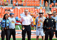 April 28, 2013: L to R: Houston Assistant Chief of Police, Fire Chief and Hrris County Sheriff being introduced to the audience before to honor law enforcement officers and fire fighters who lost lives in the City of West  before Major League Soccer match in Houston  TX. Houston Dynamo draw 1-1 against Colorado Rapids.