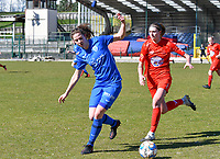 forward Hanne Merkelbach (25) of KRC Genk battles for the ball with Marie Bougard (10) of Woluwe pictured during a female soccer game between FC Femina White Star Woluwe and KRC Genk on the 17 th matchday of the 2020 - 2021 season of Belgian Scooore Womens Super League , Saturday 20 th of March 2021  in Woluwe , Belgium . PHOTO SPORTPIX.BE | SPP | JILL DELSAUX