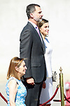 King Felipe VI of Spain and Queen Letizia in presence of Ana Pastor (l) President of the Congress of Deputies, during the Farewell with Honors previous to their official visit to the United Kingdom. July 11, 2017. (ALTERPHOTOS/Acero)