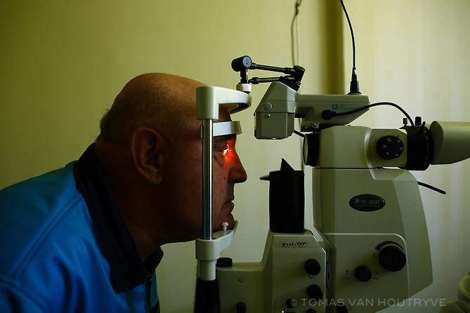 A patient suffering from a cataract has his eyes examined at the Republic Hospital in Tiraspol, Transnistria on 15 April 2009.