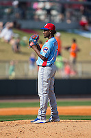 Tennessee Smokies starting pitcher Ivan Pineyro (37) looks to his catcher for the sign against the Birmingham Barons at Regions Field on May 3, 2015 in Birmingham, Alabama.  The Smokies defeated the Barons 3-0.  (Brian Westerholt/Four Seam Images)