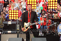 James Dean Bradfield of the Manic Street Preachers perform during the homecoming celebrations at the Cardiff City stadium on Friday 8th July 2016 for the Euro 2016 Wales International football squad.<br /> <br /> <br /> Jeff Thomas Photography -  www.jaypics.photoshelter.com - <br /> e-mail swansea1001@hotmail.co.uk -<br /> Mob: 07837 386244 -