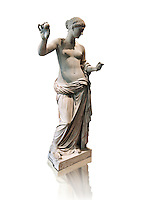 The Venus of Arles (  Greek Goddess Aphrodite) is a 1.94-metre-high (6.4ft) marble sculpture of Venus probably a copy of the Aphrodite of Thespiae by 4th century BC Greek Athenian sculpture Praxiteles . Louvre Museum, Paris. <br /> The style of the Venus of Arles, like the Venus de Milo, is not a fully nude figure both having draped clothes from the waist down. The first known example of a totally nude Venus is the 4th century BC  Aphrodite of Cnidus by.Praxiteles  The Venus of Arles was probably an earlier statue by Praxiteles known as the Aphrodite of Thespiae . <br /> The venus of Arles was found in 1651 by workmen digging a well in Arles. In 1681 it was given to Louis XIV to decorate the Galerie des Glaces of Versailles. The statue was moved to the Musée du Louvre after the French Revolution.