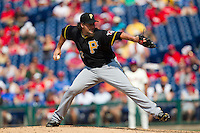 Pittsburgh Pirates  pitcher Joel Hanrahan #52 delivers during the ninth inning of the Major League Baseball game against the Philadelphia Phillies on June 28, 2012 at Citizens Bank Park in Philadelphia, Pennsylvania. The Pirates defeated the Phillies 5-4. (Andrew Woolley/Four Seam Images).