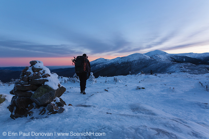 Presidential Range from the summit of Mount Pierce in the White Mountains, New Hampshire USA at dawn.