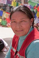 Bodhnath, Nepal.   Visitor at the Buddhist Stupa of Bodhnath.