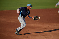 Charlotte Stone Crabs shortstop Wander Franco (1) fields a ground ball during a Florida State League game against the Bradenton Marauders on July 30, 2019 at LECOM Park in Bradenton, Florida.  Charlotte defeated Bradenton 5-0.  (Mike Janes/Four Seam Images)