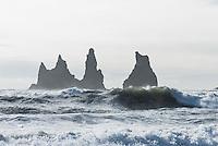 """The """"Black Beach"""" at Vik. In front of the beach are three black Dykes named """"Skessudrangur"""", """"Landdrangur"""" und """"Langsamur"""". Old legends told that they are petrified trolls.<br /> Der """"Schwarze Strand"""" bei Vik. Vor der Kueste befinden sich drei schwarze Felsnadeln (Dykes), die Reynisdrangar: """"Skessudrangur"""", """"Landdrangur"""" und """"Langsamur"""". Der Legende nach sollen es drei versteinerte Trolle sein. Der Strand gilt als der schoenste auf Island.<br /> 19.3.2016, Vik<br /> Copyright: Christian-Ditsch.de<br /> [Inhaltsveraendernde Manipulation des Fotos nur nach ausdruecklicher Genehmigung des Fotografen. Vereinbarungen ueber Abtretung von Persoenlichkeitsrechten/Model Release der abgebildeten Person/Personen liegen nicht vor. NO MODEL RELEASE! Nur fuer Redaktionelle Zwecke. Don't publish without copyright Christian-Ditsch.de, Veroeffentlichung nur mit Fotografennennung, sowie gegen Honorar, MwSt. und Beleg. Konto: I N G - D i B a, IBAN DE58500105175400192269, BIC INGDDEFFXXX, Kontakt: post@christian-ditsch.de<br /> Bei der Bearbeitung der Dateiinformationen darf die Urheberkennzeichnung in den EXIF- und  IPTC-Daten nicht entfernt werden, diese sind in digitalen Medien nach §95c UrhG rechtlich geschuetzt. Der Urhebervermerk wird gemaess §13 UrhG verlangt.]"""