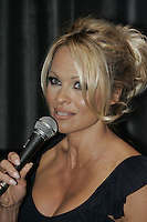 Montreal (Qc) CANADA - July 14 2010 Pamela Anderson answer question from Montreal's media about her PETA ad