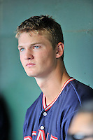 Starting pitcher Mike Soroka (54) of the Rome Braves in a game against the Greenville Drive on Sunday, July 31, 2016, at Fluor Field at the West End in Greenville, South Carolina. Rome won, 6-3. (Tom Priddy/Four Seam Images)