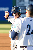 Taylor Smart #1 of the Everett AquaSox at first base during a game against the Tri-City Dust Devils at Everett Memorial Stadium in Everett, Washington on July 28, 2014. Tri-City defeated Everett 6-5 in 11 innings.  (Ronnie Allen/Four Seam Images)
