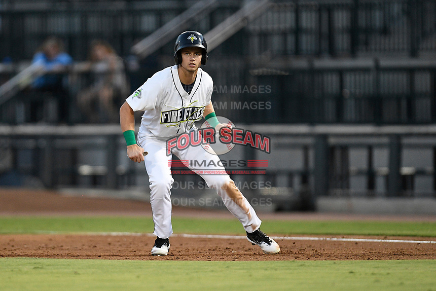 Designated hitter Matt Winaker (5) of the Columbia Fireflies takes a lead off first during a game against the Charleston RiverDogs on Tuesday, August 28, 2018, at Spirit Communications Park in Columbia, South Carolina. (Tom Priddy/Four Seam Images)