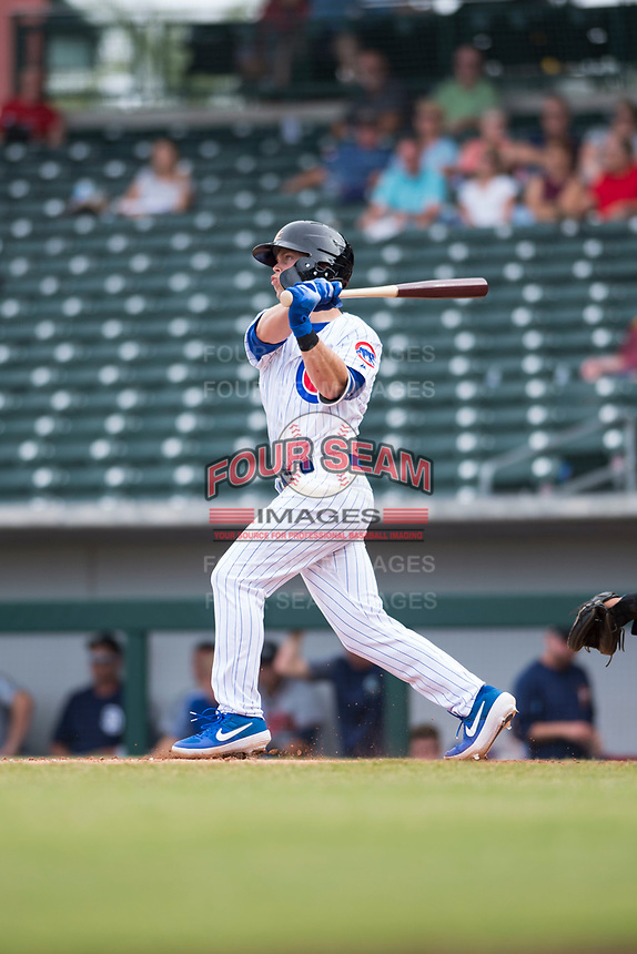 Mesa Solar Sox shortstop Nico Hoerner (17), of the Chicago Cubs organization, follows through on his swing during an Arizona Fall League game against the Peoria Javelinas at Sloan Park on October 11, 2018 in Mesa, Arizona. Mesa defeated Peoria 10-9. (Zachary Lucy/Four Seam Images)
