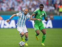 Pablo Zabaleta of Argentina and Mikel John Obi of Nigeria