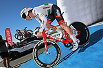 Irish road and time trial champion Ryan Mullen blasted around the flat Stage 3 time trial at the Vuelta a San Juan Tuesday to take home his first international victory and with it the first team victory for the 2018 season. 24th January 2018.<br /> Picture: Trek-Segafredo | Cyclefile<br /> <br /> <br /> All photos usage must carry mandatory copyright credit (© Cyclefile | Trek-Segafredo)