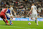 Real Madrid´s Karim Benzema and FC Shalke 04´s goalkeeper Timon Wellenreuther and Christian Fuchs during 2014-15 Champions League match between Real Madrid and FC Shalke 04 at Santiago Bernabeu stadium in Madrid, Spain. March 10, 2015. (ALTERPHOTOS/Luis Fernandez)