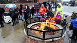 TORRINGTON CT. 23 December 2017-122217SV04-People wait in the rain to see Santa at the Christmas Village in Torrington Saturday. <br /> Steven Valenti Republican-American