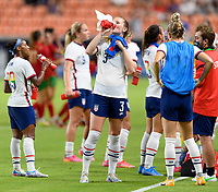 HOUSTON, TX - JUNE 10: Samantha Mewis #3 of the United States taking a water break during a game between Portugal and USWNT at BBVA Stadium on June 10, 2021 in Houston, Texas.