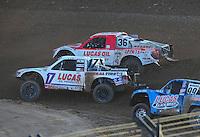 Dec. 10, 2011; Chandler, AZ, USA;  LOORRS pro 2 unlimited driver Carl Renezeder (17) leads Rodrigo Ampudia (36) during round 15 at Firebird International Raceway. Mandatory Credit: Mark J. Rebilas-