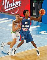 "France`s Mickael Gelabale (15) in action during European basketball championship ""Eurobasket 2013"" quarter-final basketball game between Slovenia and France in Stozice Arena in Ljubljana, Slovenia, on September 18. 2013. (credit: Pedja Milosavljevic  / thepedja@gmail.com / +381641260959)"