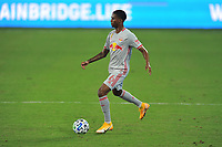 WASHINGTON, DC - SEPTEMBER 12: Kyle Duncan #6 of New York Red Bulls moves the ball during a game between New York Red Bulls and D.C. United at Audi Field on September 12, 2020 in Washington, DC.