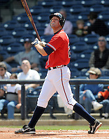 13 April 2008: Infielder Greg Creek (25) of the Mississippi Braves, Class AA affiliate of the Atlanta Braves, in a game against the Mobile BayBears at Trustmark Park in Pearl, Miss. Photo by:  Tom Priddy/Four Seam Images