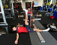 Swansea City's Federico Fernandez in the gym on his first day back for the new season.