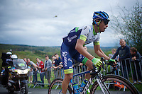 Johan Esteban Chaves (COL/Orica-GreenEDGE) (and Michele Scarponi, out of frame) are the race leaders up La Redoute (1650m/9.7%)<br /> <br /> 101th Liège-Bastogne-Liège 2015