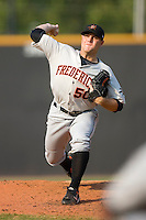 Starting pitcher Kenny Moreland #50 of the Frederick Keys in action versus the Winston-Salem Dash at Wake Forest Baseball Stadium August 9, 2009 in Winston-Salem, North Carolina. (Photo by Brian Westerholt / Four Seam Images)