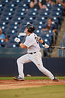Tampa Yankees first baseman Tim Lynch (25) follows through on a swing during a game against the Palm Beach Cardinals on July 25, 2017 at George M. Steinbrenner Field in Tampa, Florida.  Tampa defeated Palm beach 7-6.  (Mike Janes/Four Seam Images)