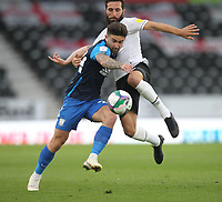 Preston North End's Sean Maguire battles with  Derby County's GraemeShinnie<br /> <br /> Photographer Mick Walker/CameraSport<br /> <br /> Carabao Cup Second Round Northern Section - Derby County v Preston North End - Tuesday 15th September 2020 - Pride Park Stadium - Derby<br />  <br /> World Copyright © 2020 CameraSport. All rights reserved. 43 Linden Ave. Countesthorpe. Leicester. England. LE8 5PG - Tel: +44 (0) 116 277 4147 - admin@camerasport.com - www.camerasport.com