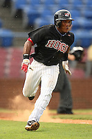 Winston-Salem Warthogs shortstop Victor Mercedes hustles down the first base line versus the Frederick Keys at Ernie Shore Field in Winston-Salem, NC, Friday, August 4, 2006.  Mercedes went 4 for 4 on the night as the Warthogs defeated the Keys 3-1.