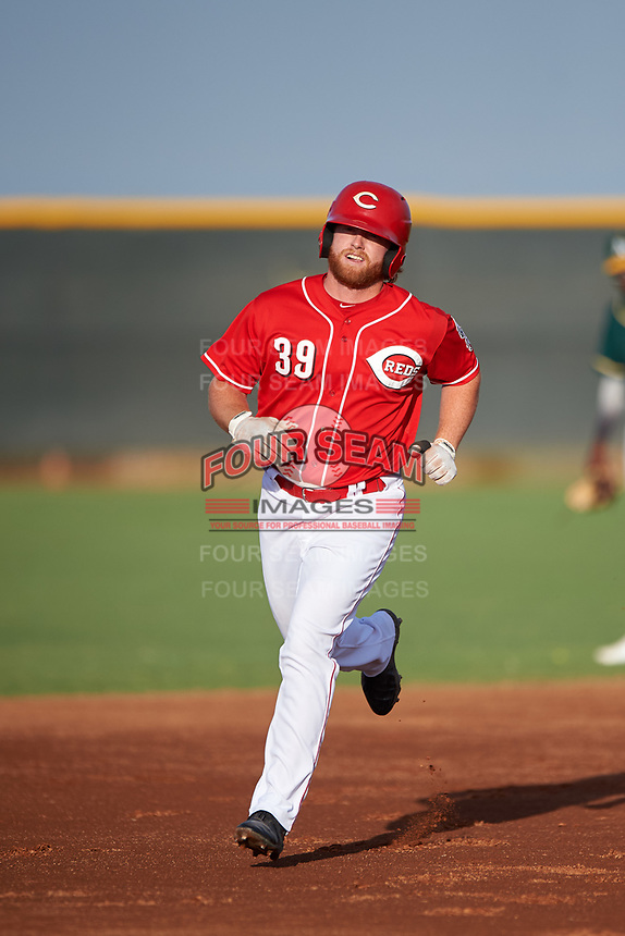 AZL Reds Caleb Van Blake (39) rounds the bases after hitting a home run during an Arizona League game against the AZL Athletics Green on July 21, 2019 at the Cincinnati Reds Spring Training Complex in Goodyear, Arizona. The AZL Reds defeated the AZL Athletics Green 8-6. (Zachary Lucy/Four Seam Images)