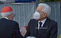 Italian President Sergio Mattarella,Pope Francis wearing a face mask attends a ceremony for peace with representatives from various religions in Campidoglio Square in Rome on October 20, 2020<br /> (Photo by Stefano Spaziani)