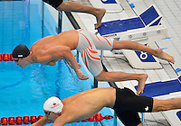July 28, 2012: Eric Shanteau of the United States pushes off the starting block to compete in Men's 100m Butterfly semifinal event at the Aquatics Center on day one of 2012 Olympic Games in London, United Kingdom.