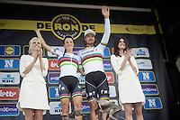 double rainbow podium: World Champions &<br /> Ronde winners Lizzie Armistead (GBR) & Peter Sagan (SVK/Tinkoff)<br /> <br /> 100th Ronde van Vlaanderen 2016