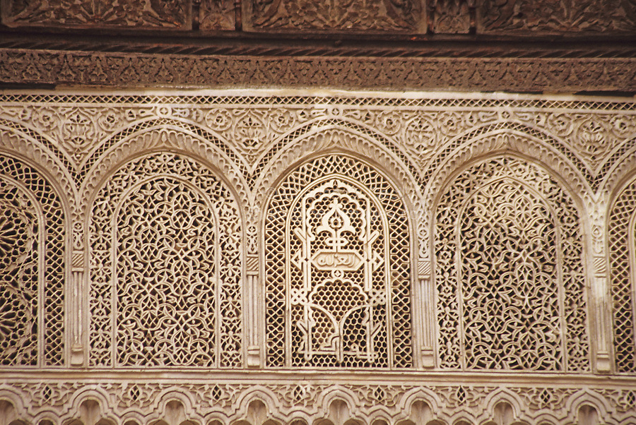 Fez, Morocco - Stucco work in the Foundouk El-Nejjarine in the Old City.  This caravanserai was built in the 18th century, and was restored in 1998.  It is a UNESCO World Heritage site.