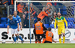 St Johnstone v Dundee United...09.05.15   SPFL<br /> John Rankin celebrates his goal with Robbie Muirhead and Callum Butcher<br /> Picture by Graeme Hart.<br /> Copyright Perthshire Picture Agency<br /> Tel: 01738 623350  Mobile: 07990 594431