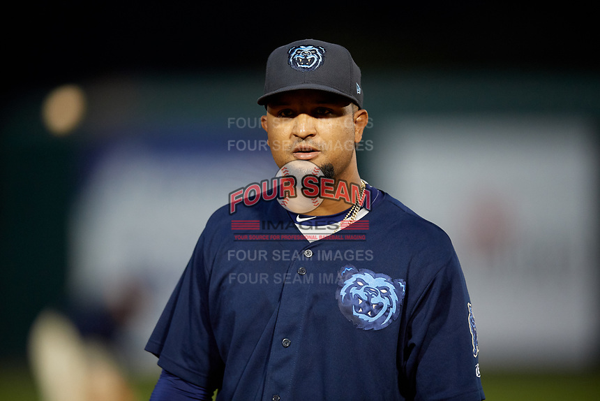 Mobile BayBears third baseman Roberto Baldoquin (27) during a Southern League game against the Jacksonville Jumbo Shrimp on May 7, 2019 at Hank Aaron Stadium in Mobile, Alabama.  Mobile defeated Jacksonville 2-0.  (Mike Janes/Four Seam Images)